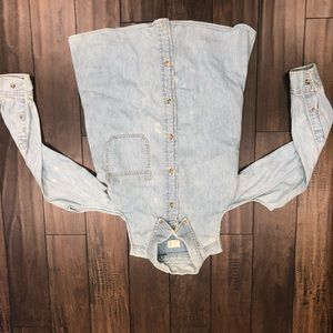 Jean shirt with shoulder cut out